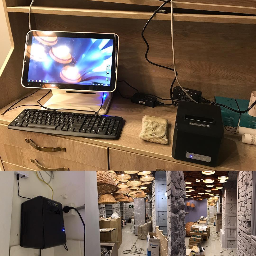 Подготовка к открытию ресторана: прокладка сетевого кабеля, установка и настройка роутера с шейпером траффика, настрока станции официанта, настройка компьютера администратора, настройка сервера, настройка сети, установка чековых принтеров